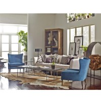 Marlow Upholstered Blue Wing Back Chair   Zin Home