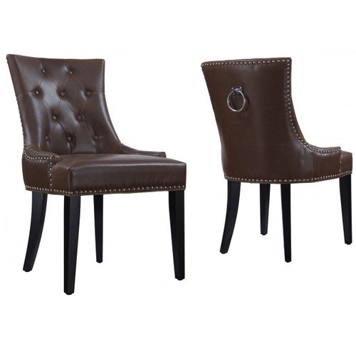 Uptown Tufted Antique Brown Leather Dining Chair  Zin Home