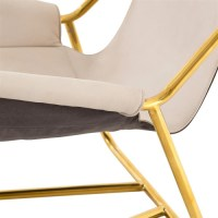 Vera Mid-Century Ivory Leather Lounge Chair - Gold | Zin Home