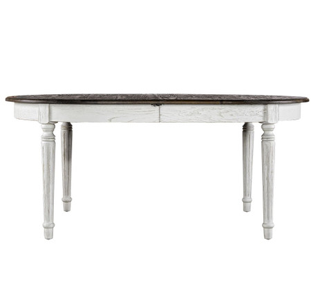 French Antique White Oval Extendable Dining Table Zin Home