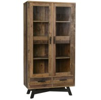 Farmhouse Rustic Reclaimed Wood Curio Cabinet with Doors ...