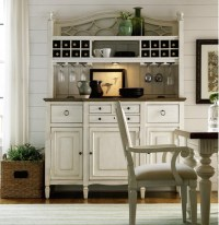 Country-Chic Maple Wood White Kitchen Buffet with Bar ...
