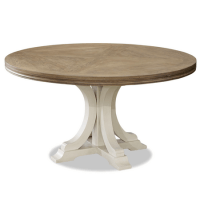 French Modern White Wood Pedestal Round Dining Table 58 ...