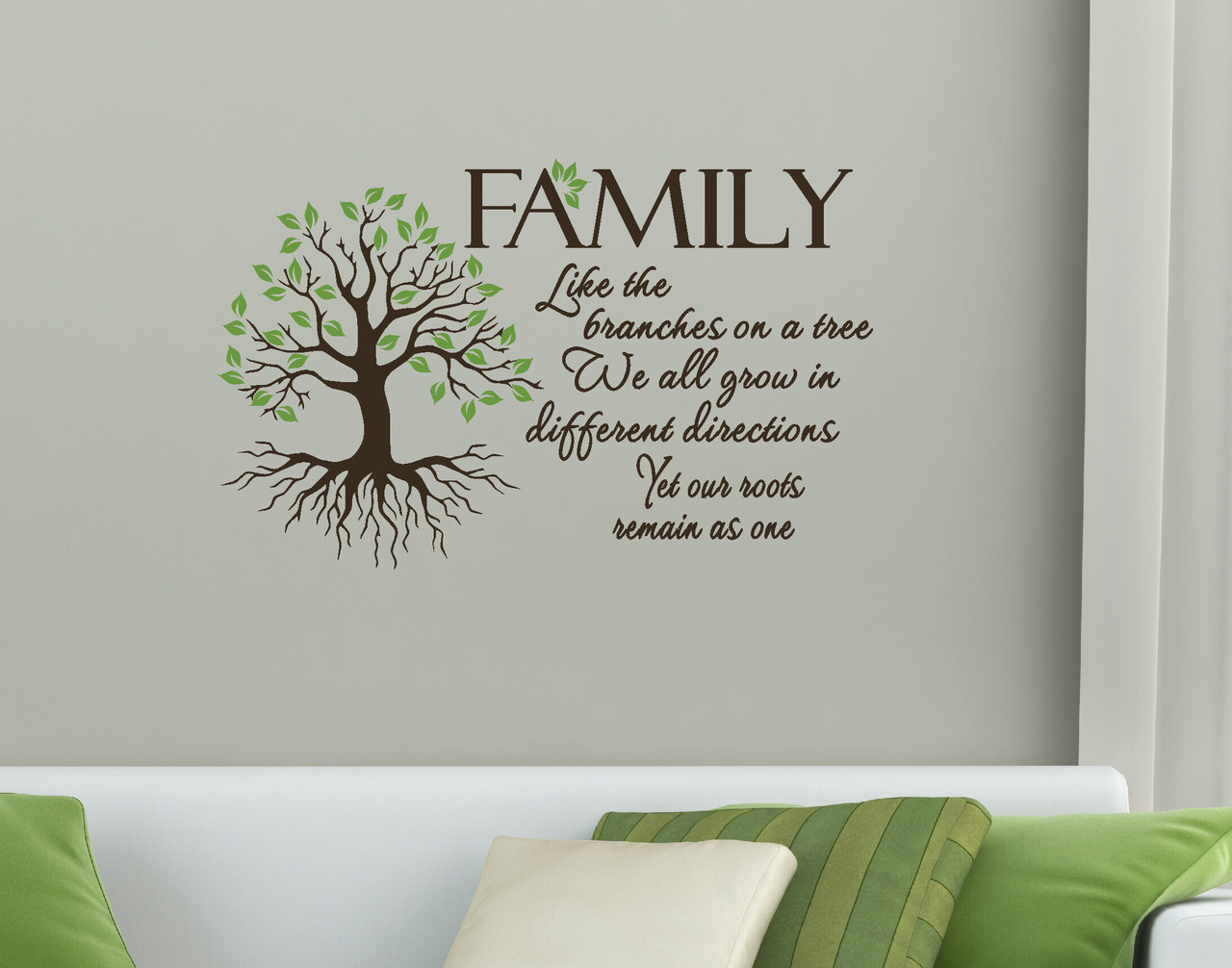 Family Quote Like Branches On A Tree Wall Art Vinyl Decal