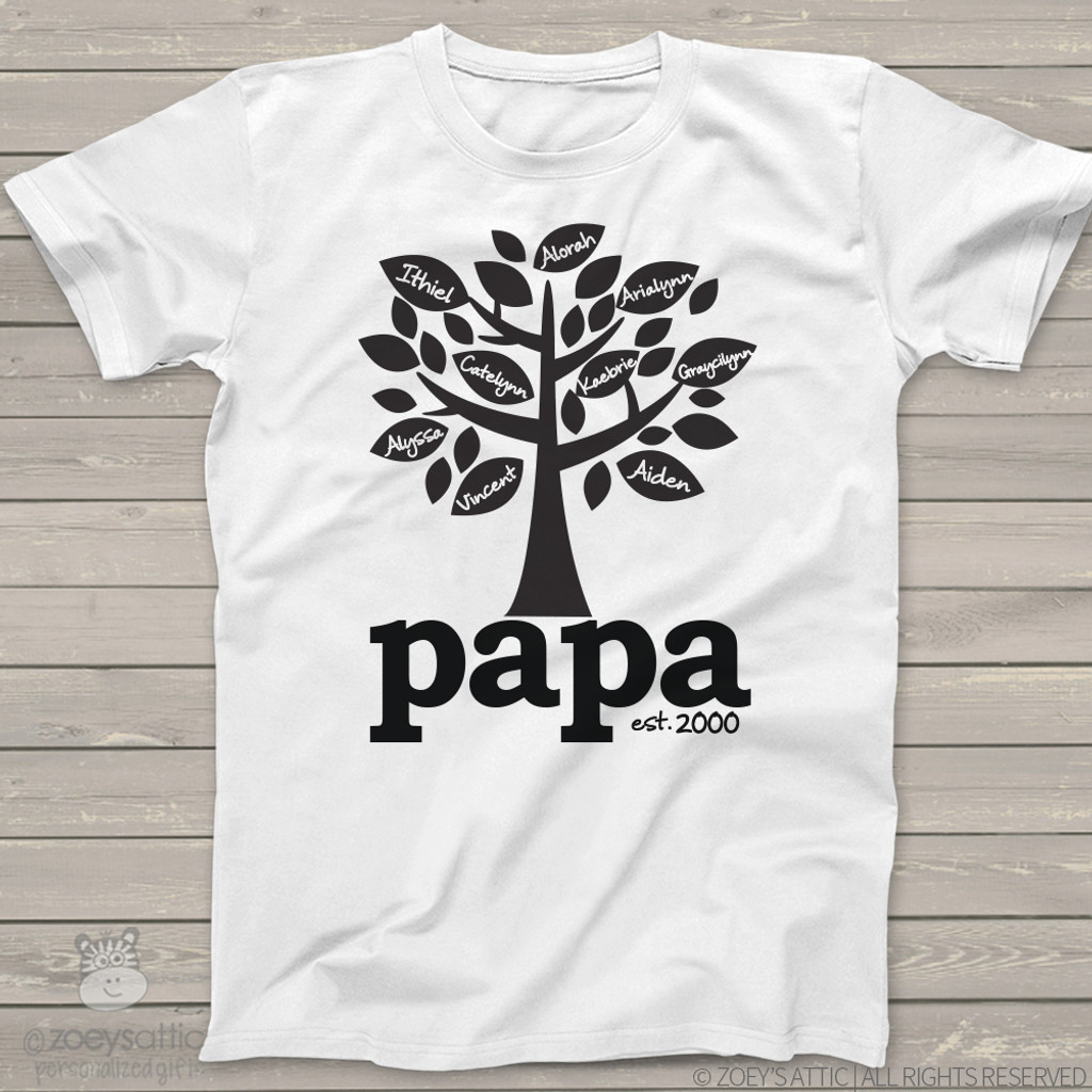 Personalized Mens Shirt Year Established Grandpa Family