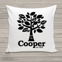 linen throw pillow, grandchildren family tree custom ...