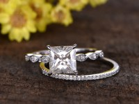 2 Carat Princess Cut Moissanite Engagement Ring Set ...