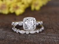 1 Carat Round Moissanite Wedding Ring Sets Diamond Art ...