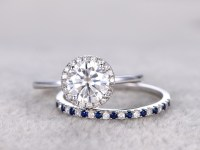Moissanite engagement ring set