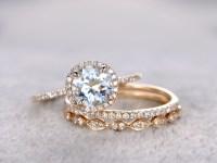 Aquamarine Bridal Ring Set Diamond Wedding Band Yellow ...