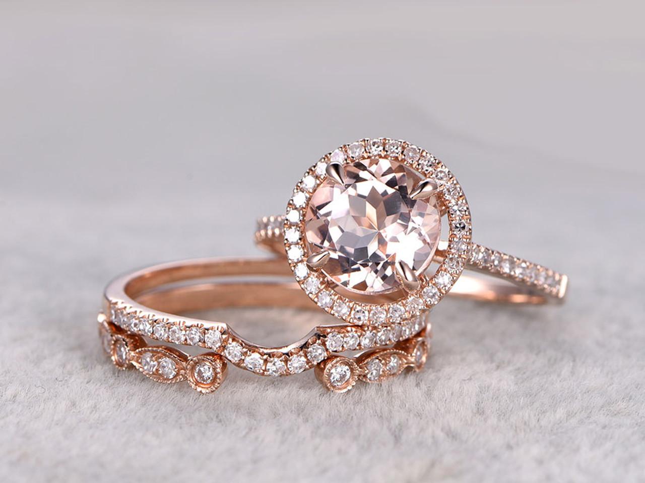 3pcs Morganite Rose Gold Wedding Set Diamond Eternity Ring
