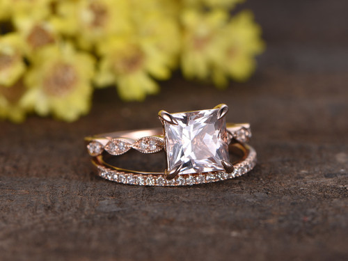 12 Carat Princess Cut Morganite Rose Gold Wedding Set