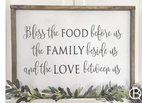 Bless The Food Before Us Wood Sign 36x16  QueenBHome