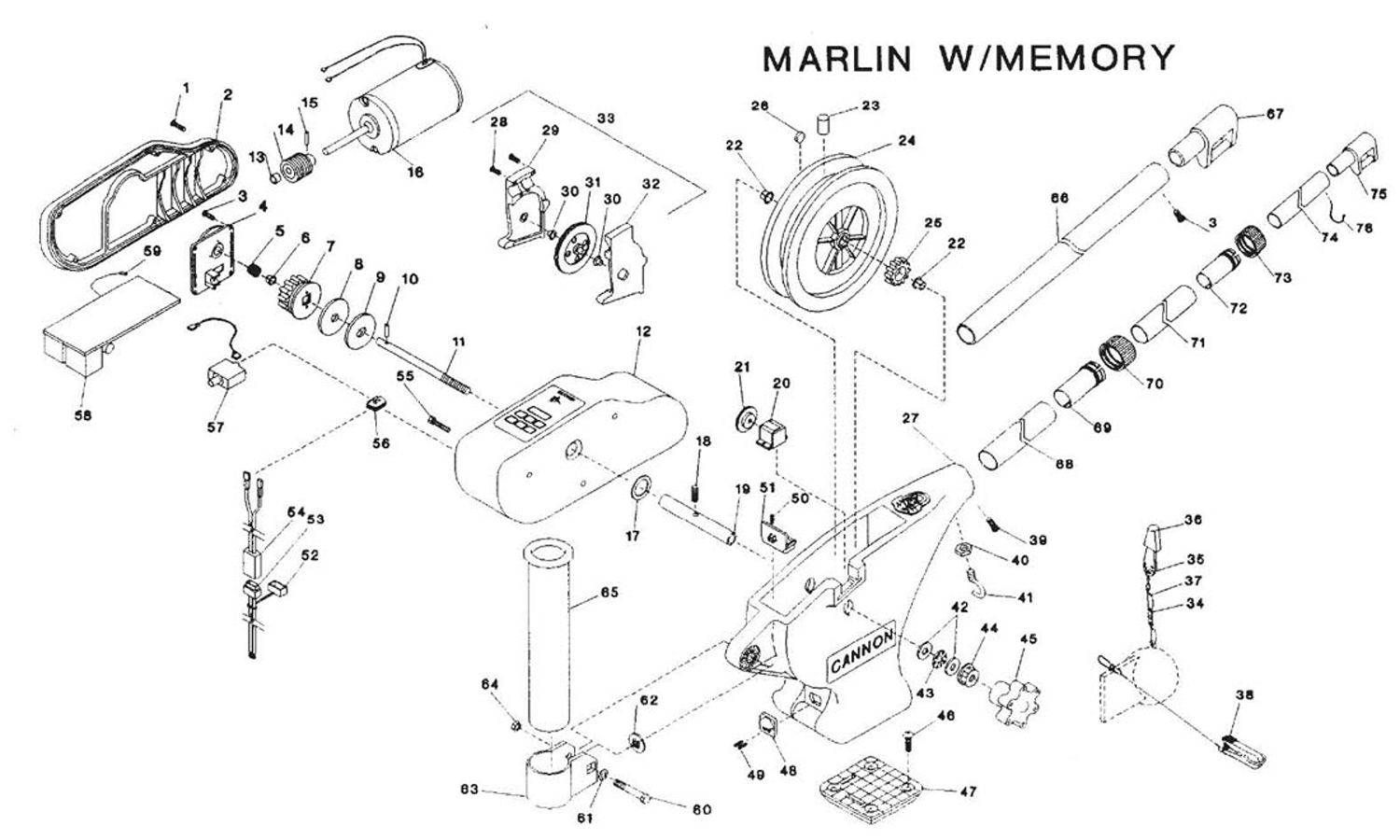 Order Cannon Marlin with Memory Electric Downrigger Parts
