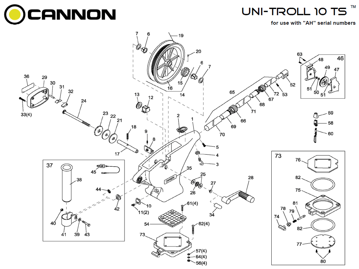 Order Cannon Uni-Troll 10 TS manual downrigger parts from