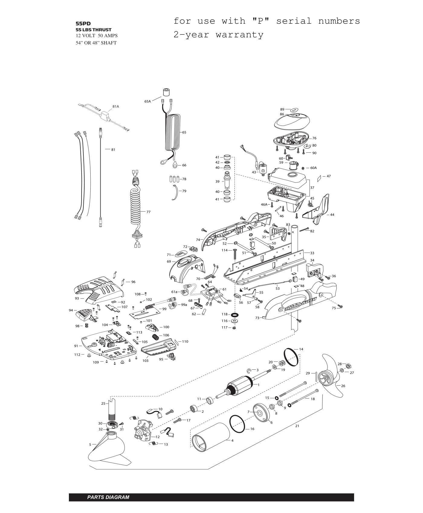 Minn Kota Powerdrive V2 55 Parts