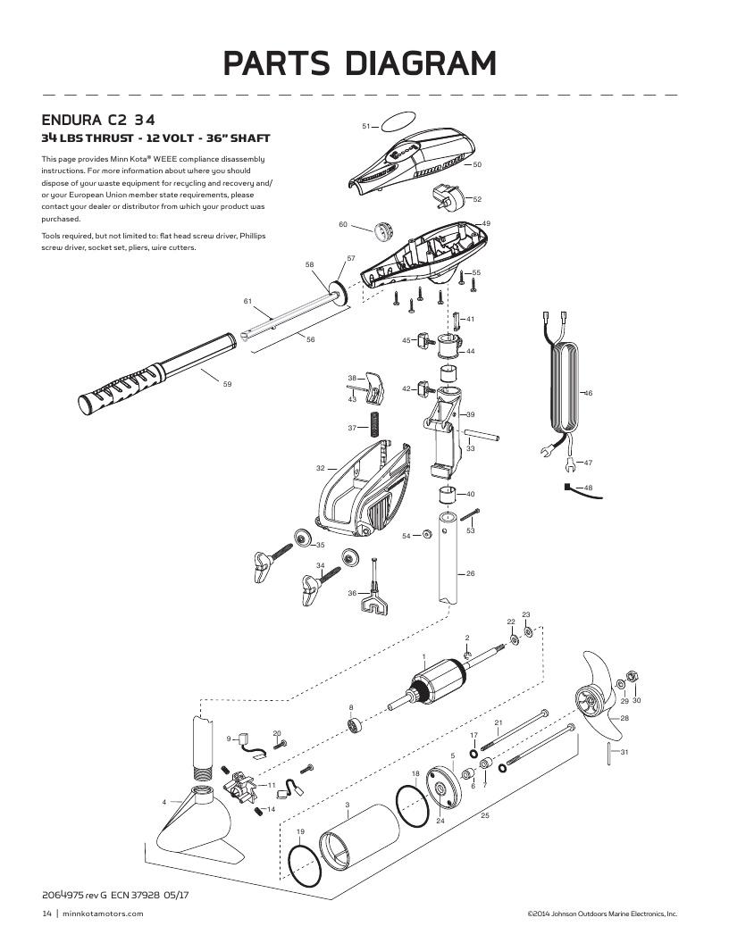 Minn Kota Endura C2 34 Parts-2018 from FISH307.com