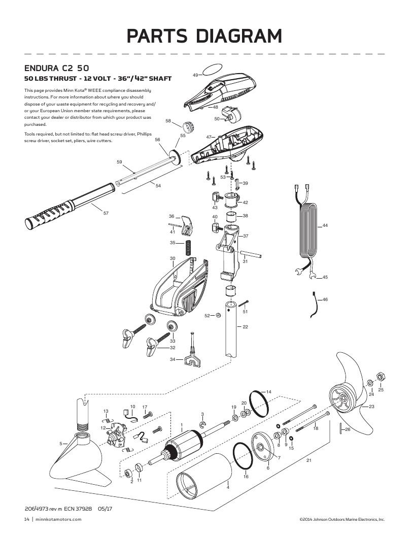 Minn Kota Endura C2 50 Parts-2018 from FISH307.com