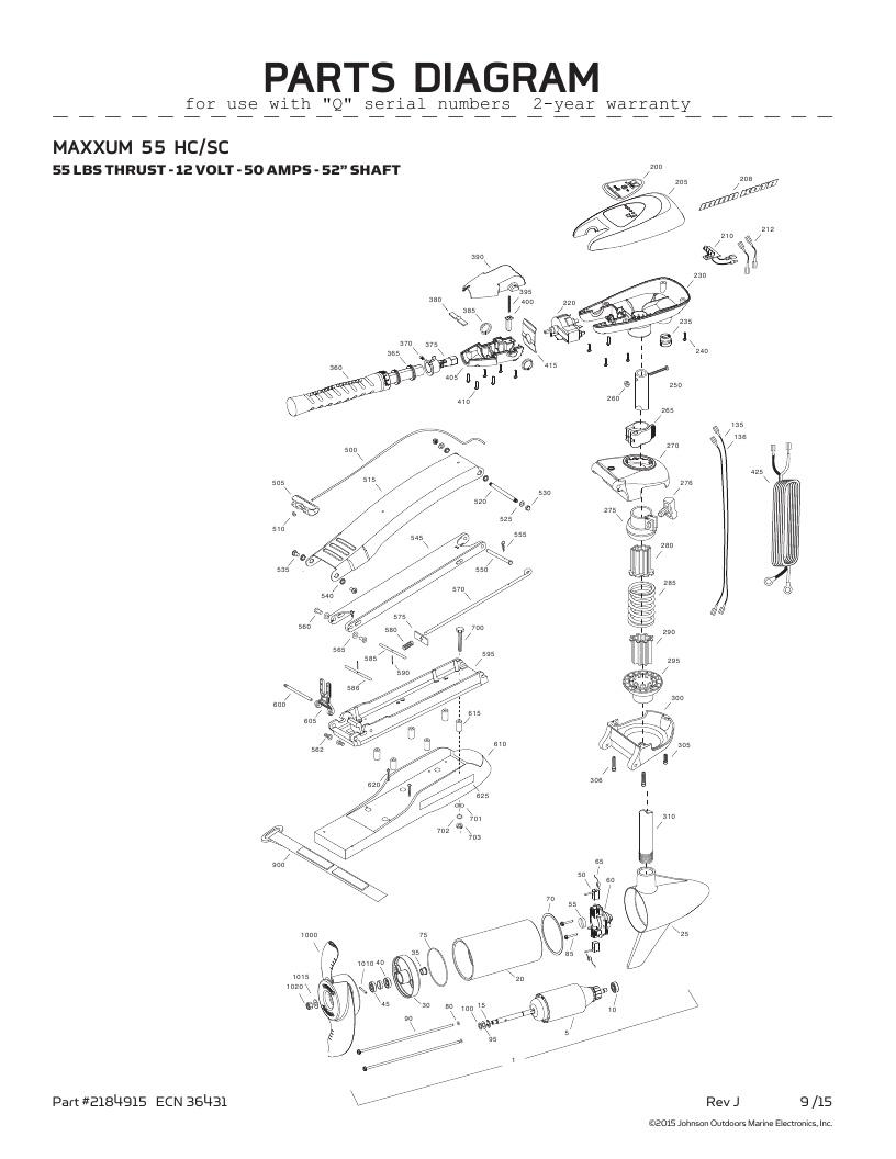Minn Kota Maxxum 55 SC hand control Parts-2016 from