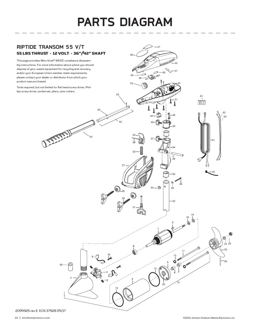 Minn Kota Riptide Transom 55 Parts-2018 from FISH307.com