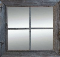 Rustic Windowpane Mirror | Reclaimed Wood Barn Mirrors ...