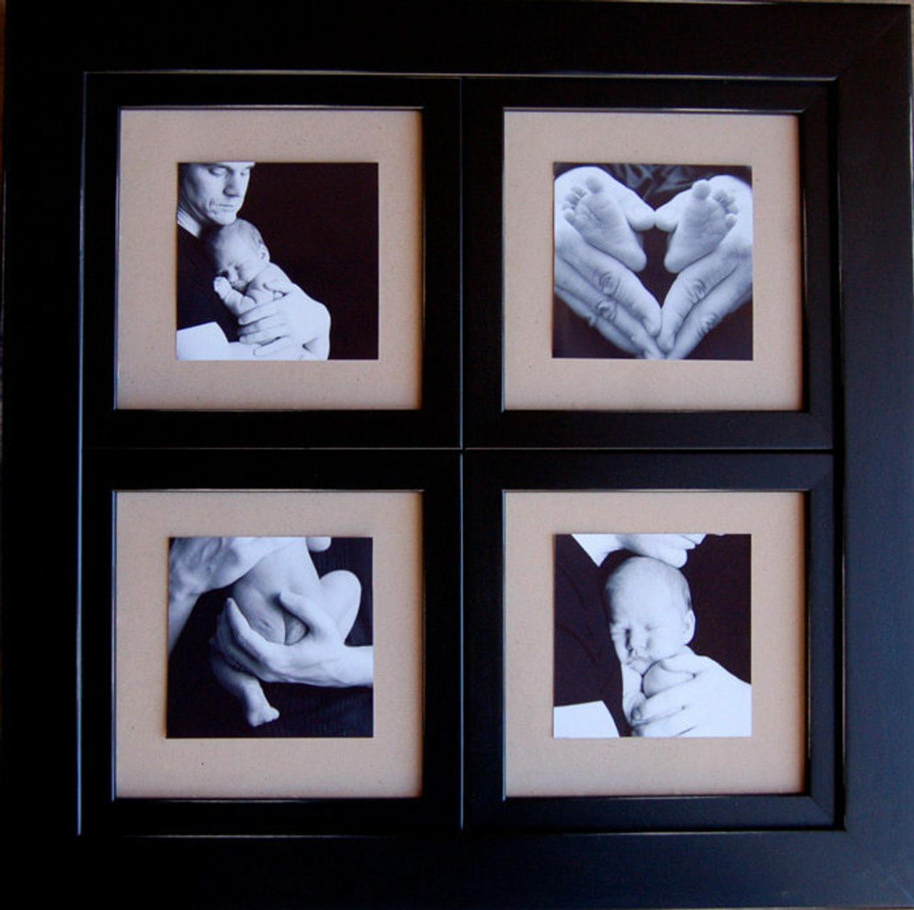 Window Pane Collage Frame Black Wood 8x8 Four Openings