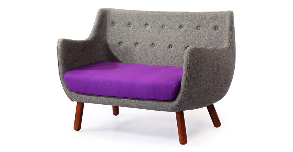finn juhl poet sofa sale mid century modern black leather 1946 parlor sofa, cadet grey /periwinkle - kardiel