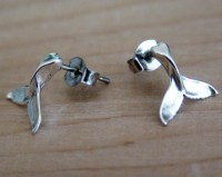 Whale Tail Earrings - Sterling Silver Post Earrings