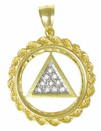 Style #36-2, 14k Gold, AA Symbol Pendant, Rope Circle w/10 ...