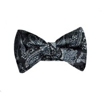 Paisley Bow Tie - Grey and Black