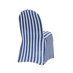 Royal Blue Chair Covers Dining Room Seat Diy Stretch Spandex Banquet Cover Striped White And