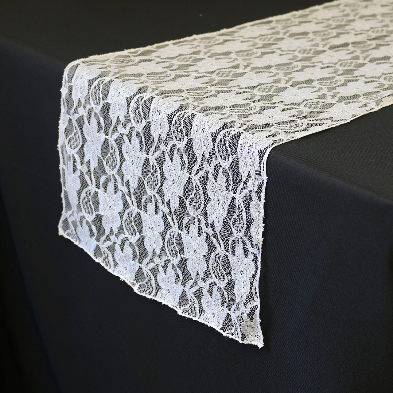 14 X 108 Lace Table Runner White - Chair Covers