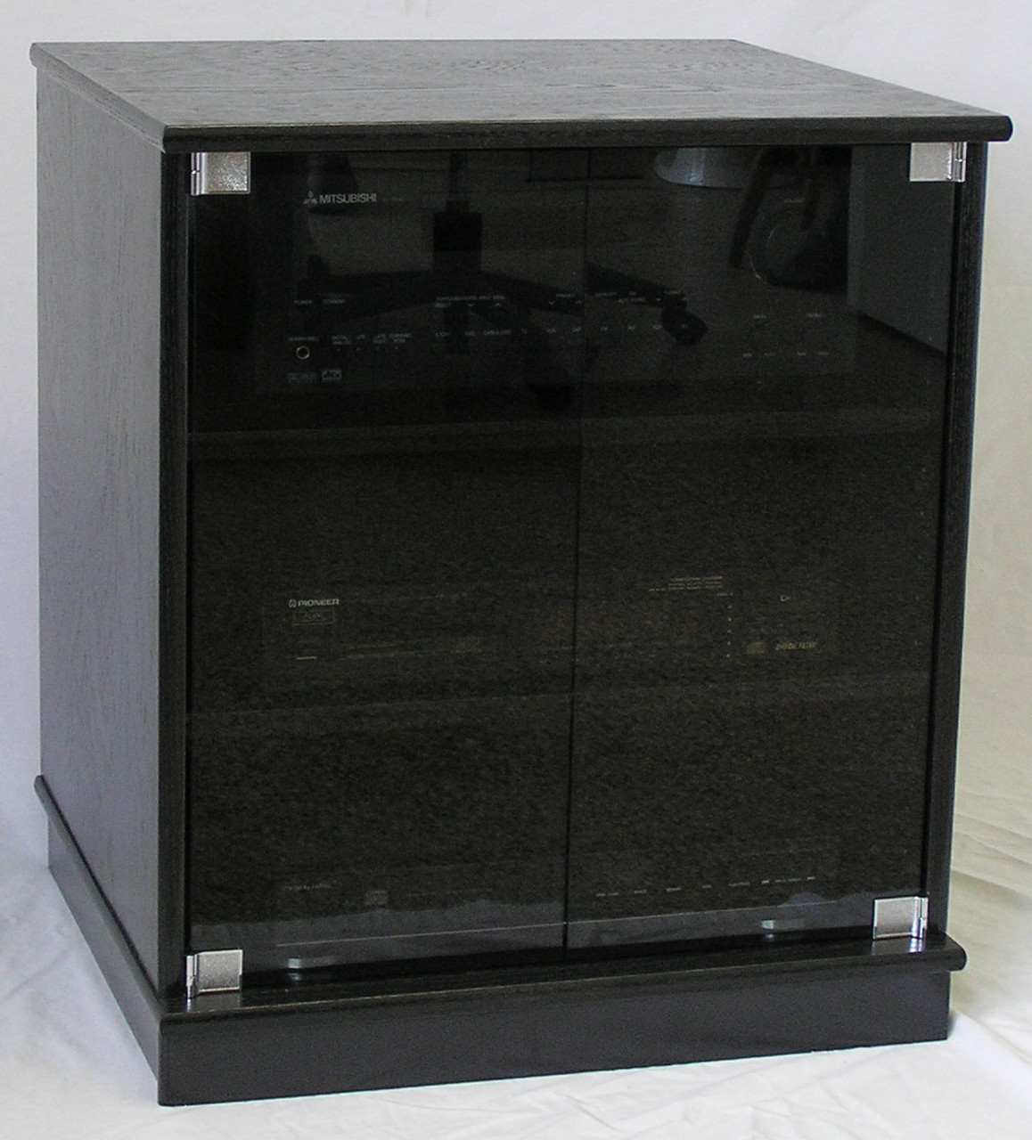 black glass kitchen cabinet doors window shades of small oak tv stand with gray tint