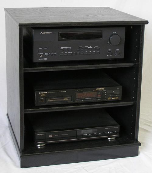 Small black oak entertainment center stereo cabinet 27