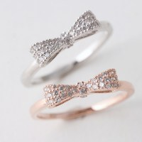 Pave Rose Gold Bow Ring Sterling Silver - kellinsilver.com