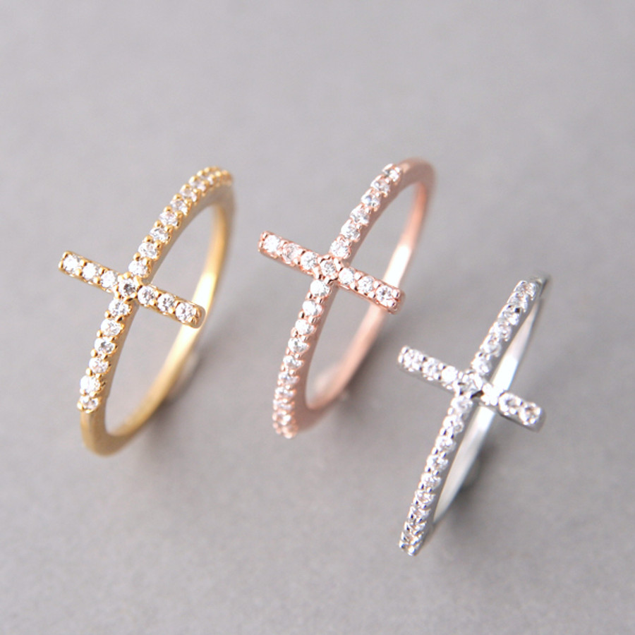 Rose Gold Cz Sideways Cross Ring Sterling Silver