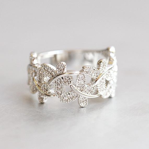 CZ Dragonfly Band Ring White Gold  kellinsilvercom