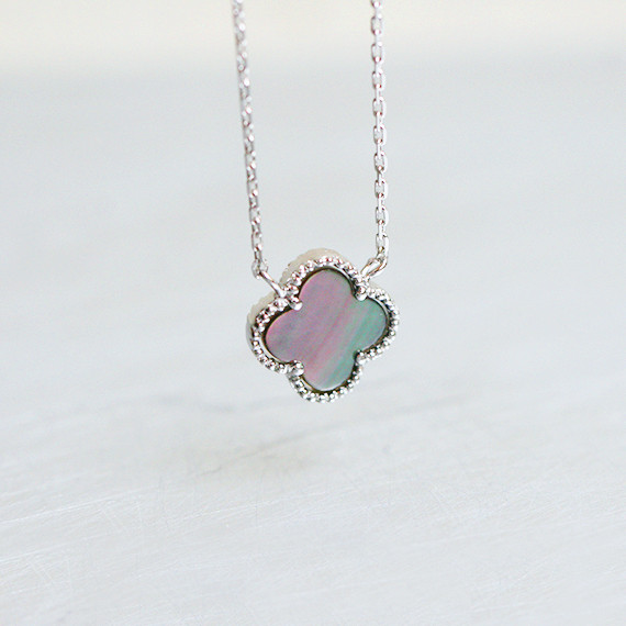 4 Leaf Clover Mother Of Pearl Necklace Sterling Silver