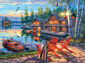 Fall Woodsy Pc Wallpaper Darrell Bush Moonlight Lodge 1000pc Jigsaw Puzzle By