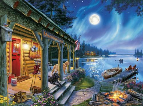 Darrell Bush Moonlight Lodge  1000pc Jigsaw Puzzle By Buffalo Games  SeriousPuzzlescom