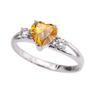 White Gold Citrine Heart Proposal/Promise Ring