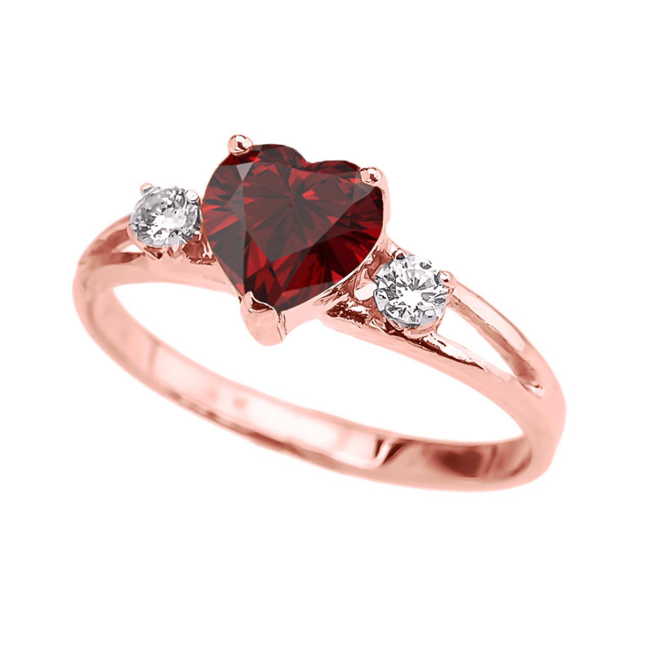 Rose Gold Garnet Heart White Topaz Proposal/Promise Ring