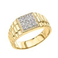 Yellow Diamond Watch Band Design Men's Ring