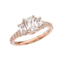 Rose Gold Emerald Cut Fancy Engagement/Proposal Ring With ...