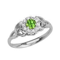 White Gold Diamond and Peridot Engagement/Promise Ring