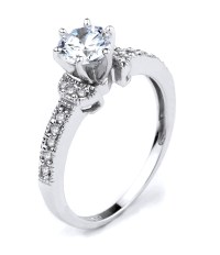 Engagement Ring | CZ Engagement Ring | White Gold CZ ...