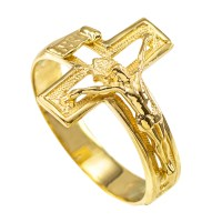 Gold Crucifix Cross Ring