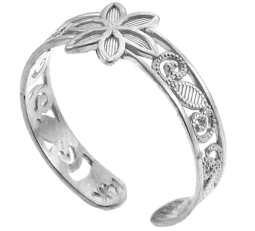 Floral white Gold Toe Ring