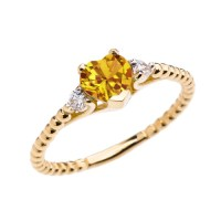 Citrine Solitaire Heart And White Topaz Yellow Gold Beaded ...