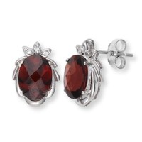 White Gold Garnet Diamond Earrings